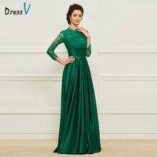 Dressv Green Long Mother Of The Bride Dress Tiga Quarter Lengan Lace Bunga Mudah Custom Elegant A Line Wedding Party Dress