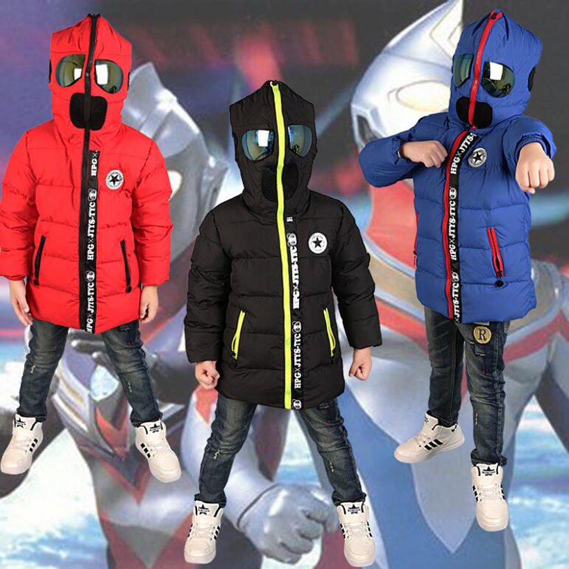 2016 New children Down & Parkas 3-10T winter kids outerwear boys casual warm boys hoodded jacket with glasses  boys warm coats2016 New children Down & Parkas 3-10T winter kids outerwear boys casual warm boys hoodded jacket with glasses  boys warm coats