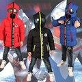 2016 Novas crianças inverno Down & Parkas 3-10 T crianças inverno outerwear meninos casuais quentes meninos hoodded jaqueta com óculos meninos quente casacos