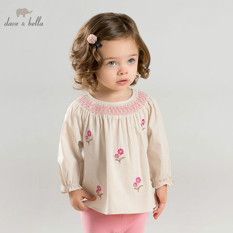 DBA9317 dave bella spring baby fashion clothing sets girls lovely long sleeve suits children striped print