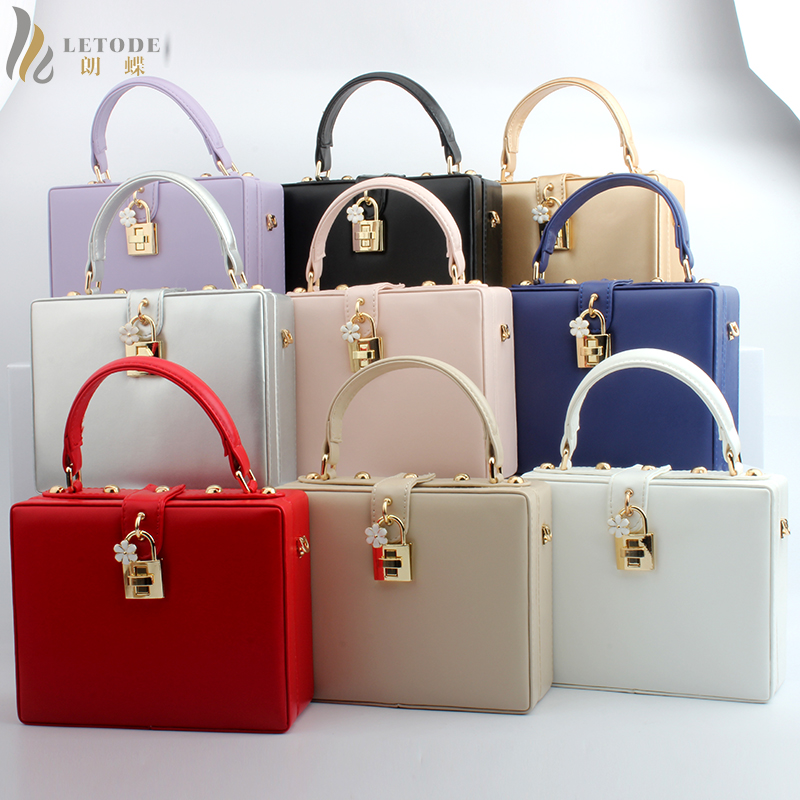 цена на Tote Purse Bridal Wallet Luxury Chain Handbag Fashion Clutch Hard Women Crossbody Box Evening Party Shoulder Bag NEW PU Leather