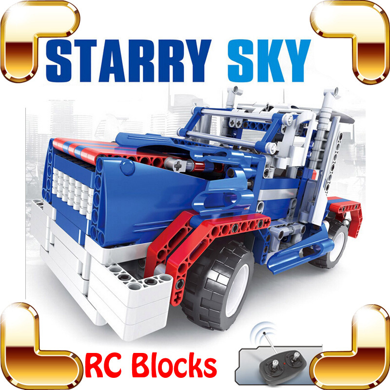 New Idea Gift 8002 Starry Sky RC Remote Control Brick Toy Car Block Vehicle Machine Radio Truck For Boys Easy Build Drive Toys