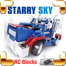 New Idea Gift Starry Sky RC Remote Control Brick Toy Car Block Vehicle Machine Radio Truck For Boys Easy Build Drive Toys