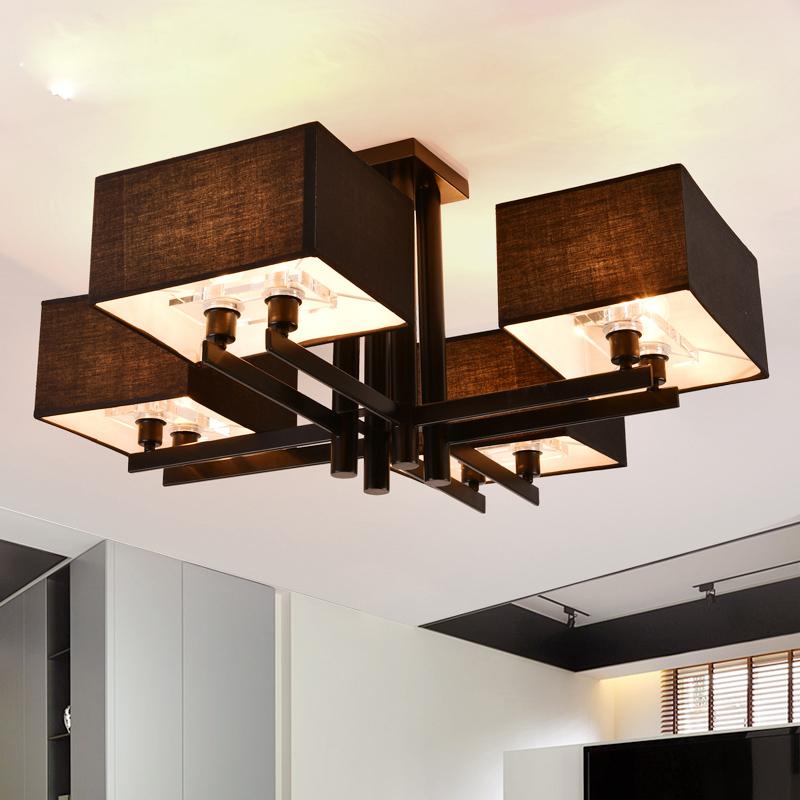 Stoffschirm Moderne Deckenleuchte Schwarz Oder Weiss Farbe Wohnzimmer Bett Zimmer Licht Dekoration