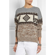 2015ss Autumn New Geometric Jacquard Wool Sweater Round Neck Basic Pullovers Ladies Jumper