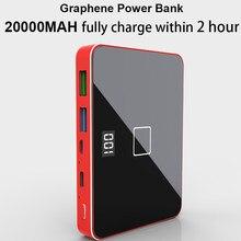 RIY graphène bidirectionnel PD 18 QC 3.0 charge rapide 20000MAH LCD batterie externe sans fil avec adaptateur de chargeur de téléphone portable 60W