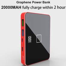 Riy graphene 양방향 pd 18 qc 3.0 빠른 빠른 충전 20000 mah 무선 휴대용 전원 은행 60 w 미국 전화 충전기 어댑터