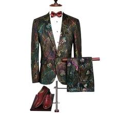 2017 font b Men s b font Suit Jackets Pants Fashion Business Wedding Banquet Men Jacket