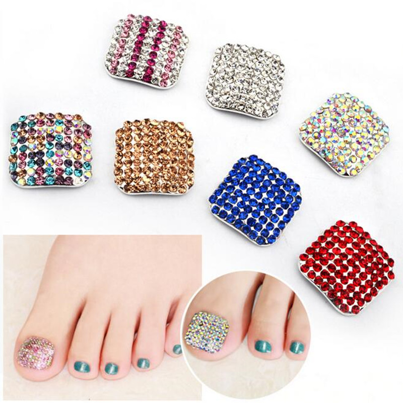 1pc Eco Foot Stick Glitter Rhinestone Feet Toe Fake Nail Stickers For Nails Accessoires Manicure Art Decorations Drill In Decals From