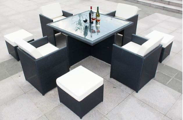 9 Pc OUTDOOR PATIO DINING SET PE Wicker Table 4 Chairs 4