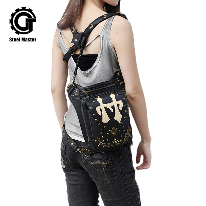 Gothic Punk Waist Bags Black Leather Motorcycle Leg Bag Men Women Vintage Shoulder Messenger Bag Rivets Hip Holster Bags напольная плитка caesar change chromium ret 30x60