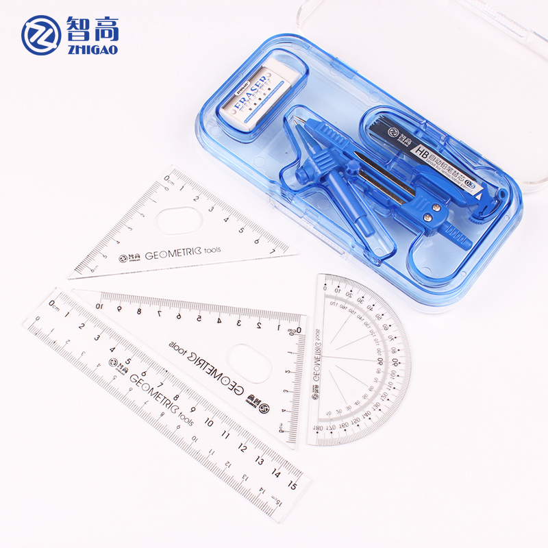 Zhigao Drafting Tools Drawing Math Compass Set Goods For School Supplies Stationery 8 Pieces Accessories Protractor Ruler