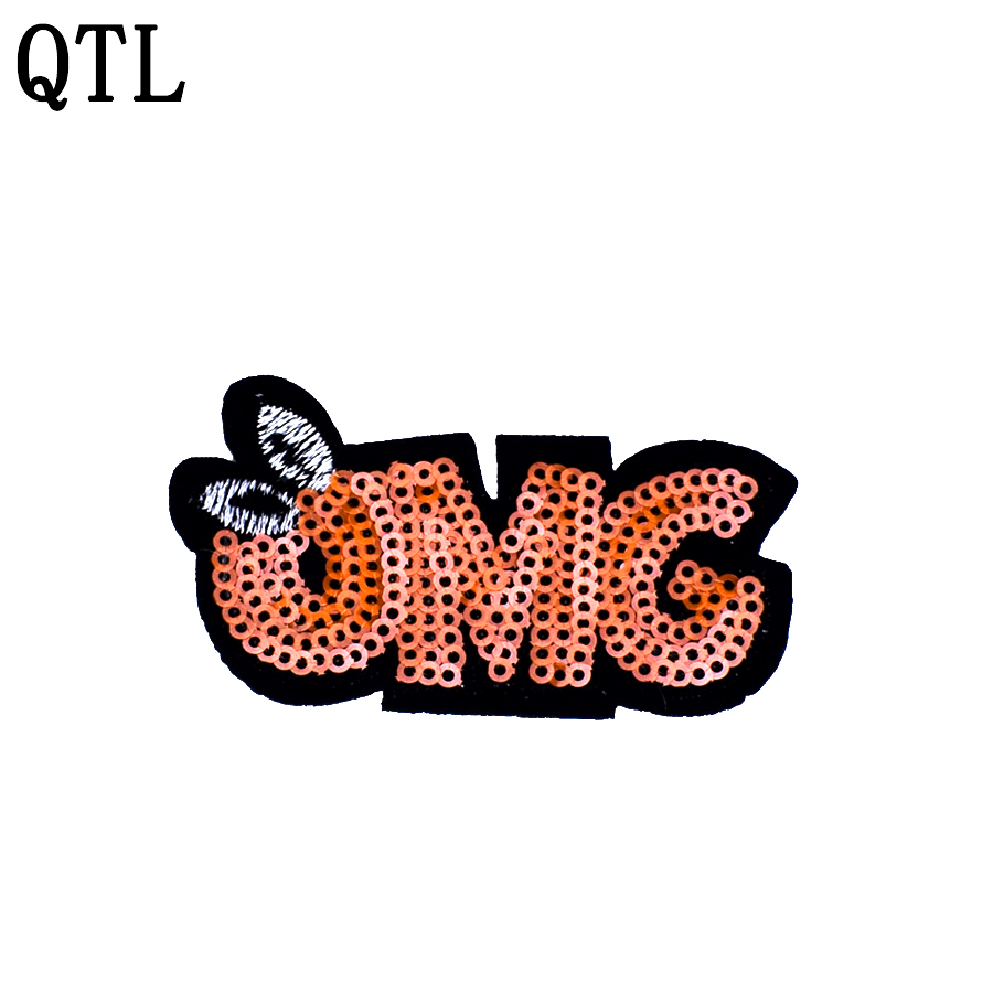 OMG  Embroidered Iron On Patch Sequins Badge Sew Fabric Bag For Clothes Applique