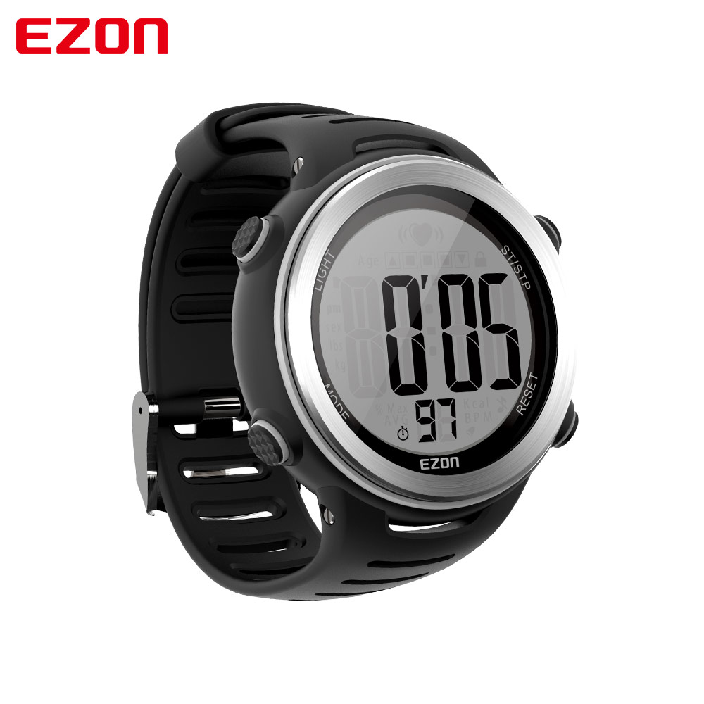 Image 3 - New Arrival EZON T007 Heart Rate Monitor Digital Watch Alarm Stopwatch Men Women Outdoor Running Sports Watches with Chest Strapwatch withwatch alarmwatch digital -