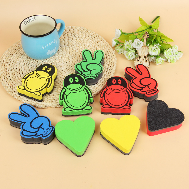 1 PCS Random Colored Magnetic Whiteboard Eraser Kawaii Erasable Blackboard Cleaner Cute Sponge White Board Marker Chalk Erasers