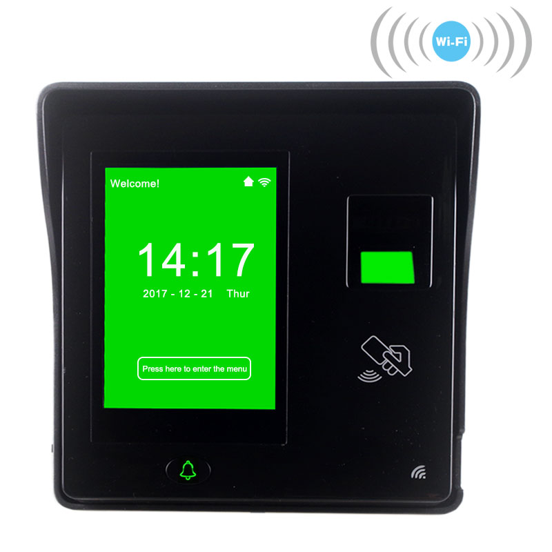 Standard WIFI Fingerprint Employee Attendance Machine Staff Time Tracking Fingerprint Door Controller Big Touch Screen