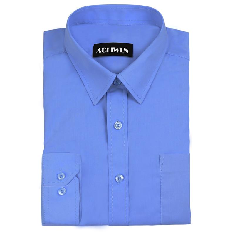 Aoliwen Fashion Business Men's Solid Color Long Sleeve Brand Shirt Black White Blue Long Sleeve Shirt High Quality Cotton