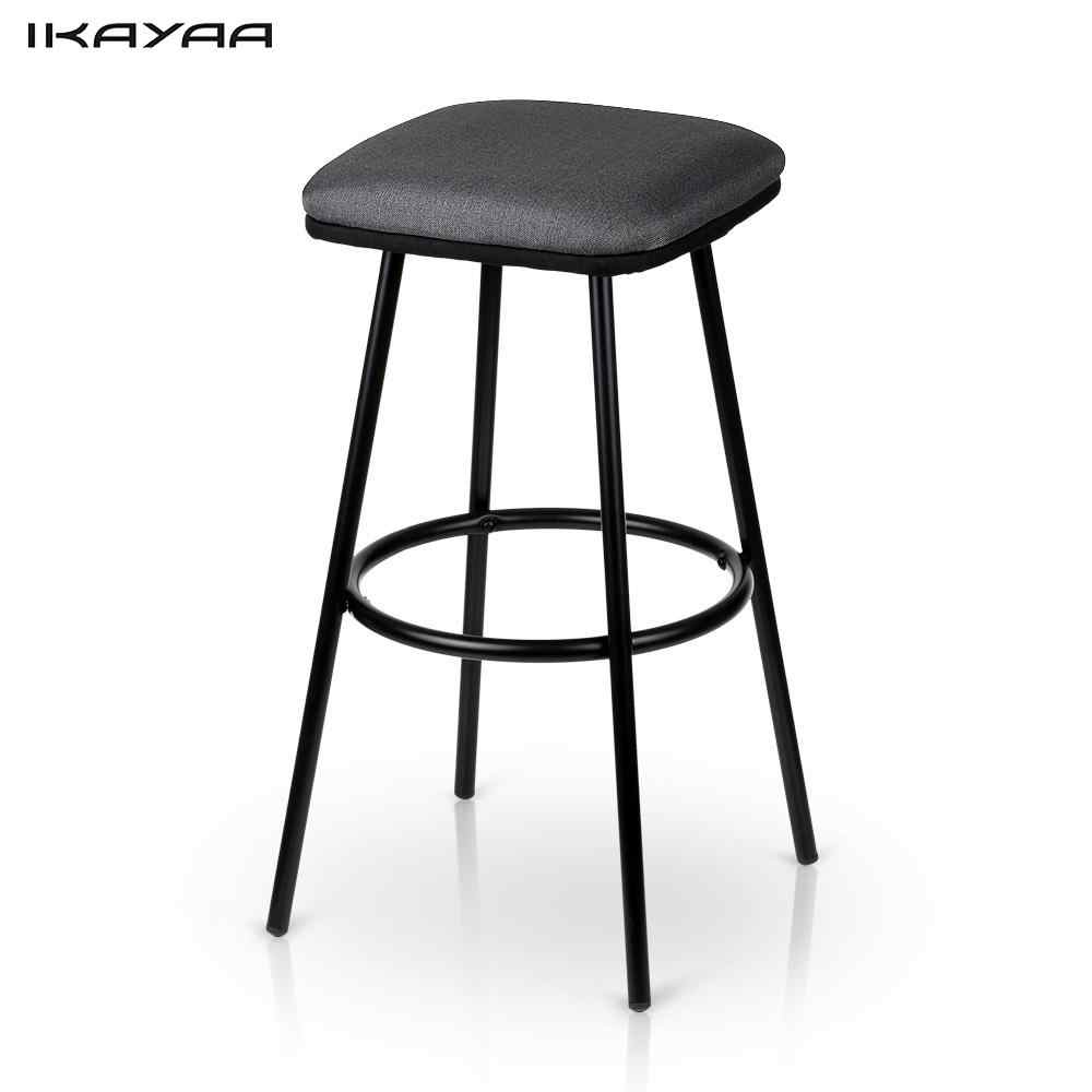 iKayaa 2PCS Modern Metal Bar Stools with Footrest Counter Pub Stool Padded Seat Kitchen Chairs Home Bar Furniture US DE Stock