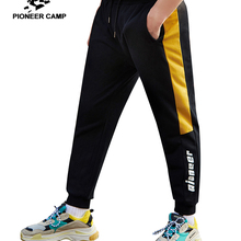 Pioneer camp sweatpants men clothing black yellow patchwork trousers male joggers