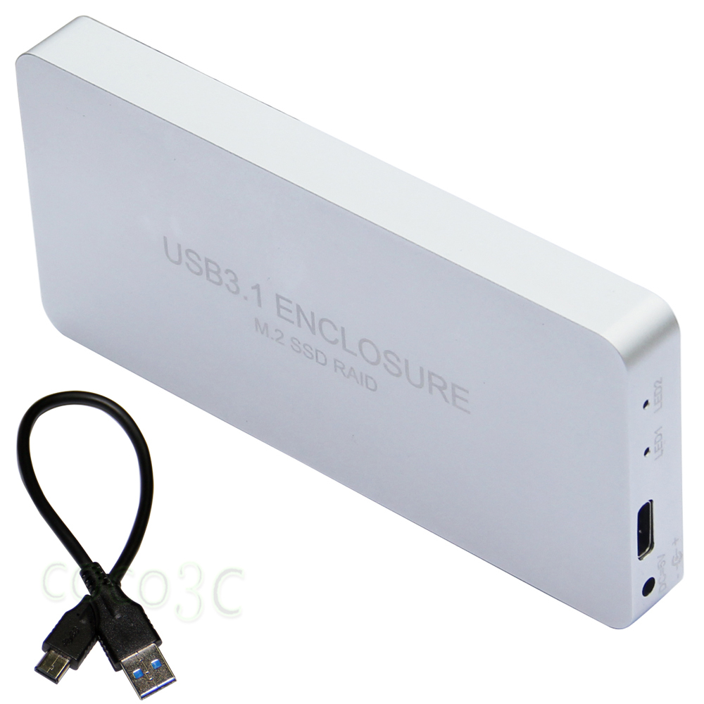 Free Shipping USB 3.1 Type-C to 2 M.2 SSD RAID Enclosure USB-C to Dual NGFF adapter M.2 SSD External Box + RAID0 RAID1 цена