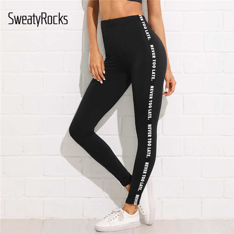 SweatyRocks Letter Print Side Skinny Leggings 2018 Stretchy Active Wear Crop Leggings Women Athleisure Sporting Leggings