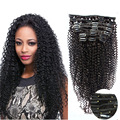 10PCS 120G Afro Kinky Curly Clip In Hair Extensions Full Head Clip In Human Hair Brazilian Virgin Hair Clip In Extensions #1B