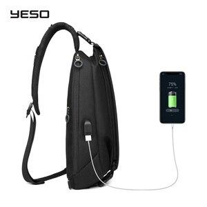 """Image 4 - YESO Chéo Thời Trang Túi Với USB Sling Ngực Túi Chống Thấm Nước Nhẹ Túi Đeo Vai Cổ Daypacks Phù Hợp Với 9.7 """"IPad"""
