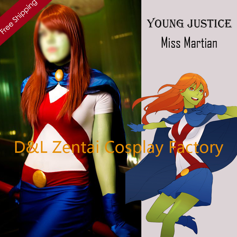 Free Shipping DHL 2016 Halloween Costume,Young Justice Costume,Miss Martian Superhero Costume, Spandex Fancy Dress Catsuits
