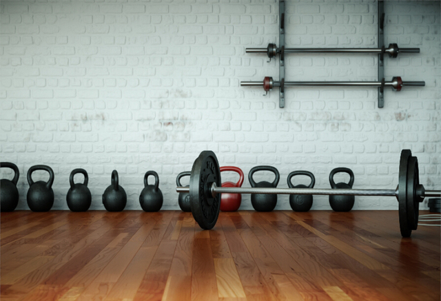 laeacco brick wall wooden floor barbell fitness equip photography