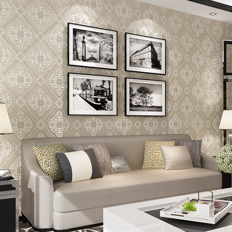 ФОТО beibehang para quarto em 3d mural paper flocking wallpaper roll Luxury 3d embossed damask Damascus wall papers home decor