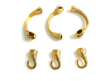 5 Компл. Античное Золото Змеиная Голова Хвост Половина Манжеты Крюк Застежка Браслет Выводы 8×5 мм Отверстие