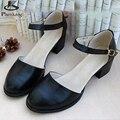 Обувь из натуральной кожи женщины США размер 9.5 ручной работы черный скольжения насосы 2017 весна Англия Колледж Стиль оксфорд обувь для женщины