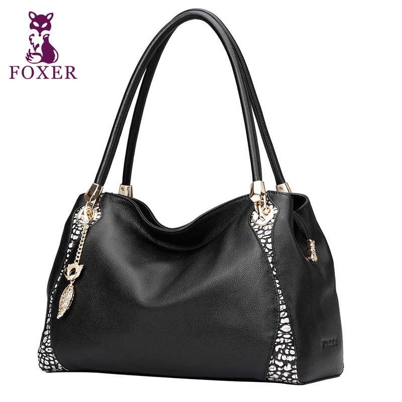 FOXER new 2017 women luxury handbag 100% genuine leather handbags women shoulder bag fashion tote ladies hand bags famous brands 2017 new women leather handbags fashion shell bags letter hand bag ladies tote messenger shoulder bags bolsa h30