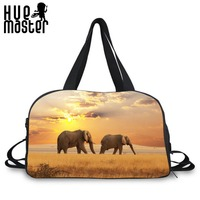 Elephant Front View Design Large Capacity Teenager Students Duffle Crossbody Bags Traveler Leisure Messenger Bags Crossbody