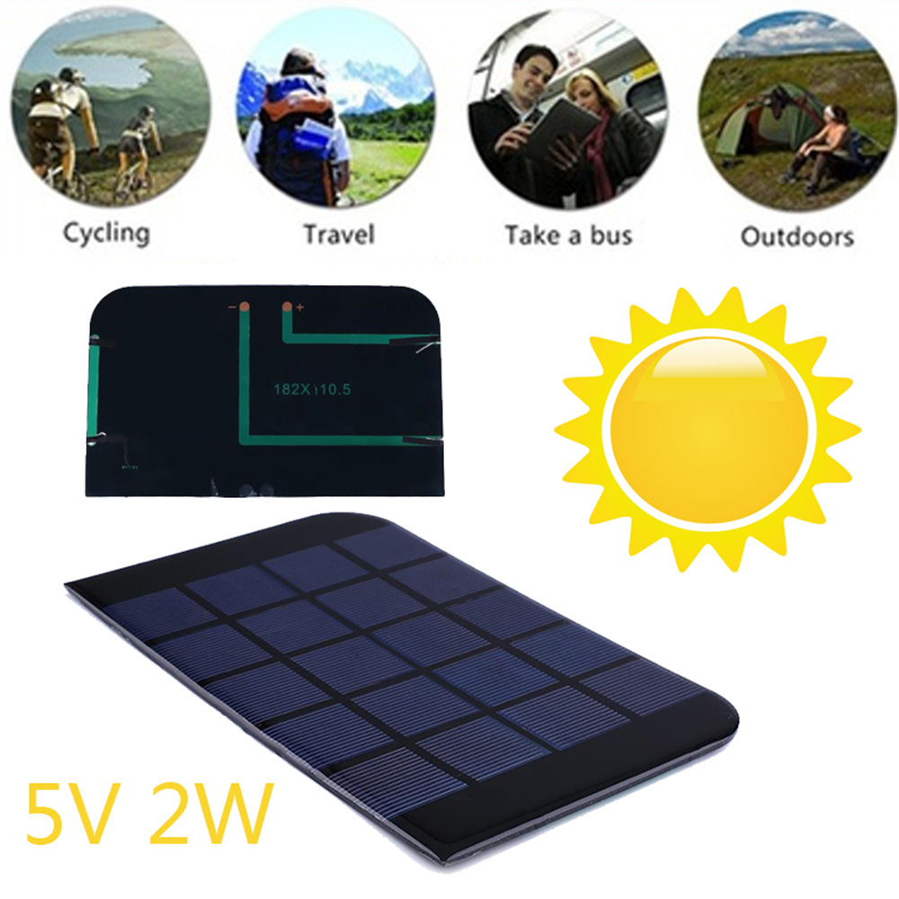 Gizcam Portable 2W 5V Solar Panel Solar Cells Module Outdoor Battery Charger Smartphone DIY Phone Battery Charger