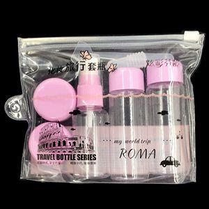 7pcs/Set Mini Makeup Cosmetic Face Cream Pot Bottles Plastic Transparent Empty Make Up Container Bottle Travel Kit Accessories