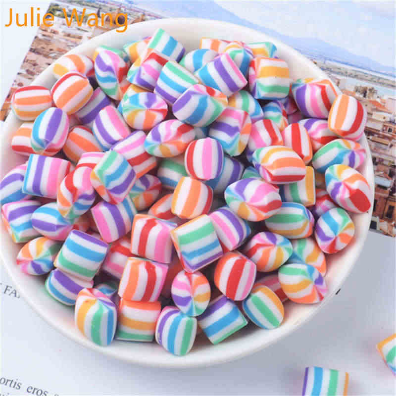 Julie Wang 20PCS Mixed Resin Colorful Rainbow Candy Slime Polymer Clay Charms Pendants Jewelry Necklace Bracelet Accessory