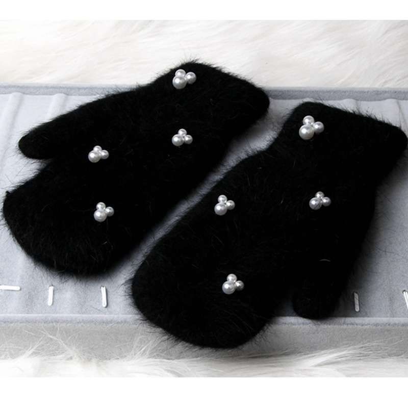 2018 Winter Gloves Women Luxury Pearl Rabbit Fur  Double Warm Full Finger Gloves For Female Winter Gloves Girls Mittens Guantes