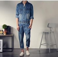 Korean Style Mens Fashion Vintage Slim Long Sleeve Denim Jumpsuit One Piece Bodysuit Jean Overalls Big