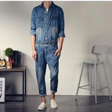Korean style mens fashion Vintage slim long sleeve denim jumpsuit one piece bodysuit jean overalls big pocket decorate Cotton