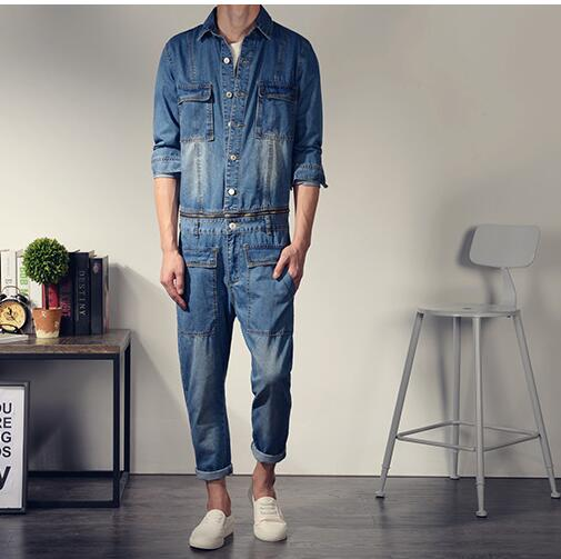 Korean style mens fashion Vintage slim long sleeve denim jumpsuit one piece bodysuit jean overalls big pocket decorate Cotton sulee brand 2017 mens plus size jeans stretch dark blue denim slim long trouser jean pants big and tall trendy mens clothing