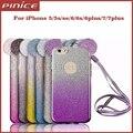 3d mickey minnie mouse orejas gradiente del brillo tpu case para iphone 6 6 s más 5 5S sí 7 7 más teléfonos glitter case con lanyard