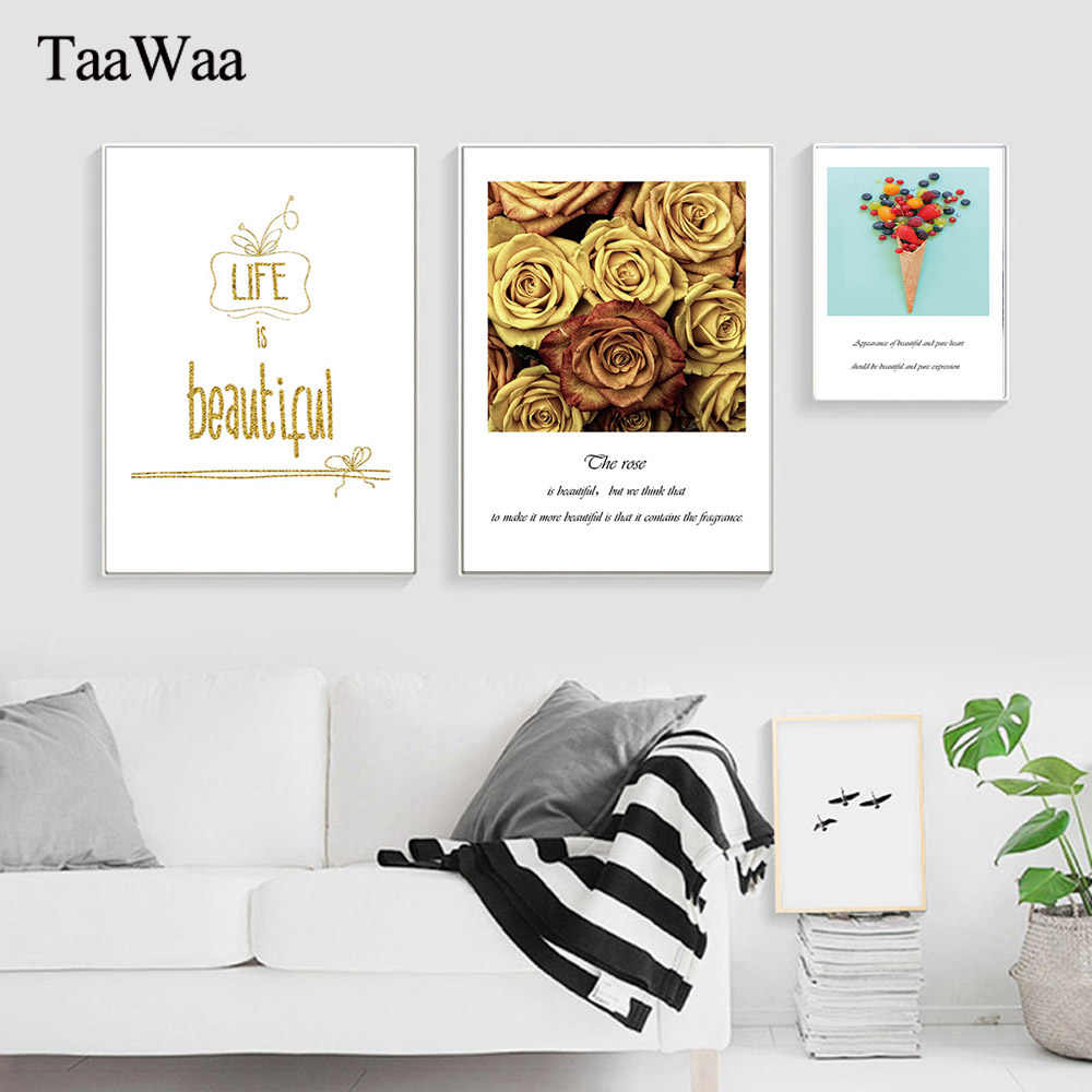 TAAWAA Gold Rose Flower Nordic Posters and Prints Life Quote Wall Art Canvas Painting Candy Decorative Picture for Living Room
