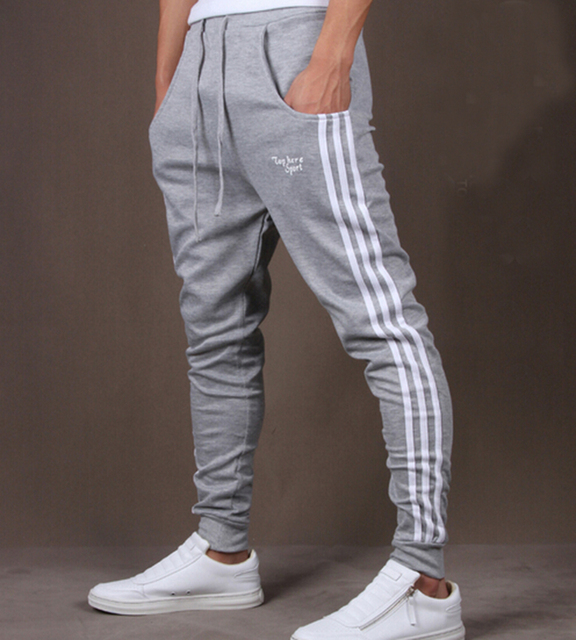 Los hombres de Moda de Rayas Carta Hip Hop Danza Flaco Sweatpant Harem Pant Pantalones Basculador Informal Unisex de Color Gris