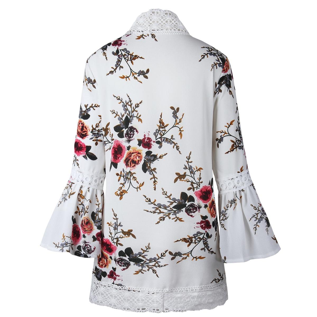 HTB1bnGivZuYBuNkSmRyq6AA3pXa7 Women Plus Size Loose Casual Basic Jackets Female 2018 Autumn Long Flare Sleeve Floral Print Outwear Coat Open Stitch Clothing