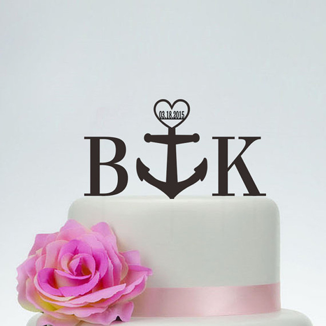 Initials Wedding Cake Topper With The Date Personalized Unique Acrylic Golg Silver Wooden Black