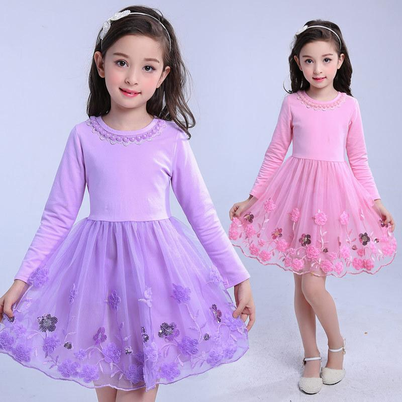 2017 New Girls Dresses Pink Violet Long Sleeve Kids Dresses for Girls Embroidery Sweet Children Prindess Party Dress гарнитура symphonized kids violet