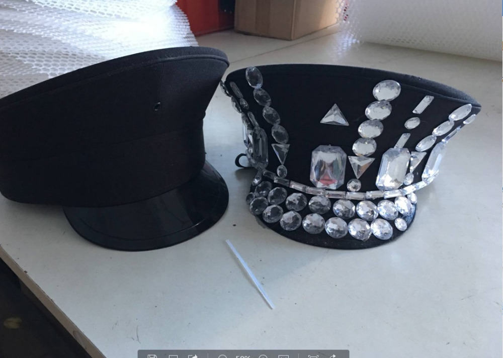 New Nightclub Security Cap Breathable Uniform Black Hat Party Stage Performance Costume