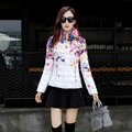 2016 women winter coat  print down coats cotton-padded jacket  short wadded jacket women parka