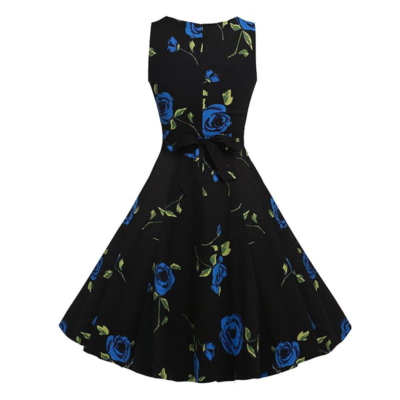 Kostlish Cotton Summer Dress Women 2017 Sleeveless Tunic 50s Vintage Dress Belt Elegant Print Rockabilly Party Dresses Sundress (53)